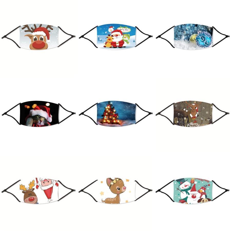 Enfants Anti-pollution Masques de Noël Garçons Filles Masques Cartoon Bouche Visage Noël Enfants Anti-poussières respirables Earloop Lavable réutilisable # 712