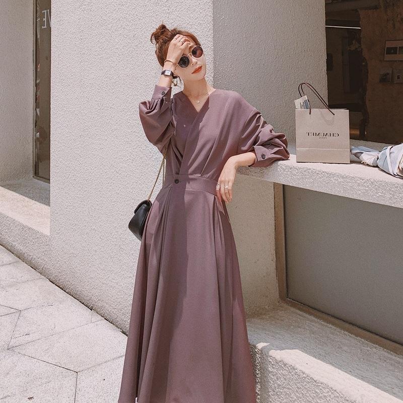 2020 Herbst-Frauen grau lila V-neckwaist dicht ol Temperament großes schwingt 6lzp5 lange Kleid Chiffon-Kleid