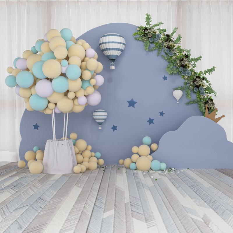 Laeacco Воздушные шары Воздушный шар Венок младенца Новорожденный партии Портрет деревянный пол Фотография Фон Фон фотографии Фотозвонки