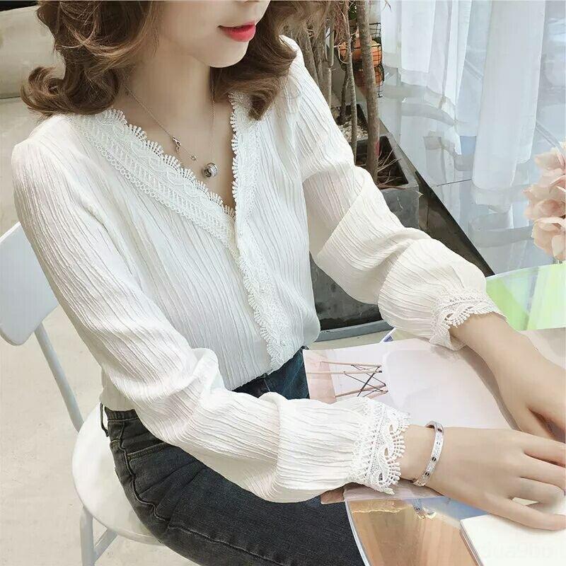 AzZ3W Корейского новый 2020 стиля случайных кружева рукав длинный белая рыхлые рубашки V-образный вырез Top кружево топ женщин