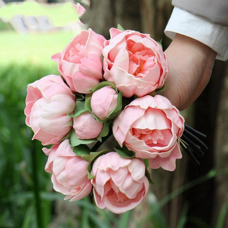 Real toque de flores de alta qualidade PU Flores buquê de noiva Peony Artificial Flowers partido Home Decor Wedding Bouquet