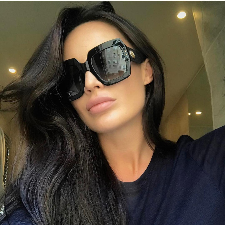 ثلاثة أضعاف اللون الأزياء الفاخرة مصمم خمر المتضخم أنيقة النساء النظارات الشمسية uv والدليل