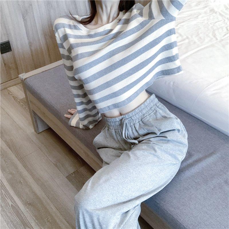 Z6YkO FICHl Otoño 2020 nuevos pantalones sueltos deportes rayas deportes ocasionales de la camiseta camiseta de juego de la manera de las mujeres al estilo occidental de la mujer pantalones de deporte de dos