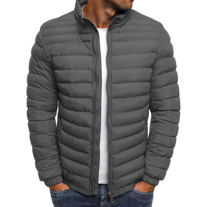 ZOGAA Erkek Parka Ceket Kış Coat Erkekler Pamuk Puffer Ceket Katı Artı boyutu Palto Fermuar Streetwear Casual Ceket Erkekler C0925