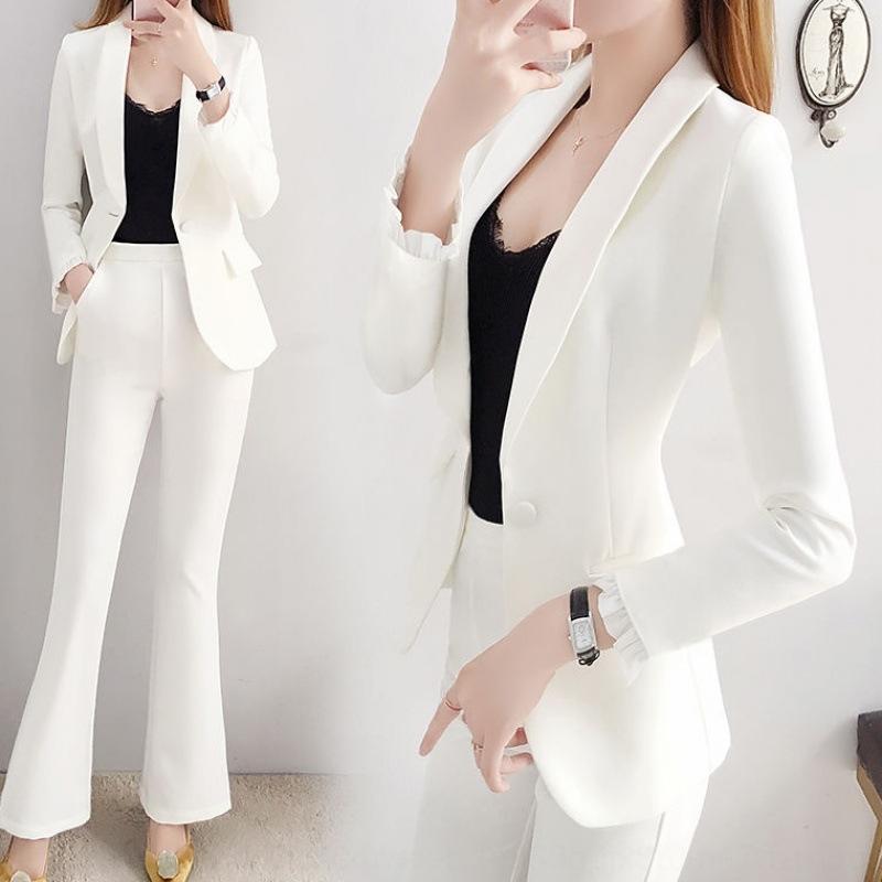 estilo coreano moda estilo britânico de duas peças 2.020 novos início coreano moda outono elegante terno formal terno branco para as mulheres r2UKv