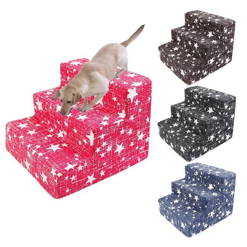 الكلب السلالم الحيوانات الأليفة 3 خطوات السلالم لكلب صغير القط الحيوانات الأليفة في البيت تسلق المنحدر سلم سرير اللوازم التدريب اللعب