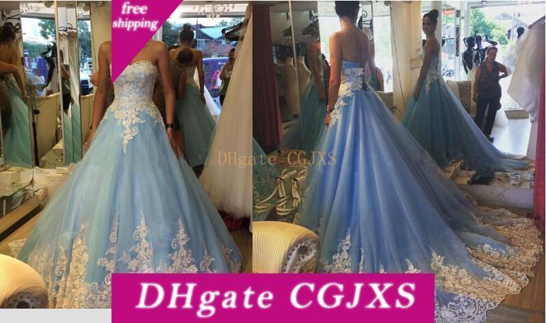 Vestido nupcial del vestido de encaje balón Cielo azul de la vendimia del color del vestido de novia blanco y azul de la boda del tren largo 2016