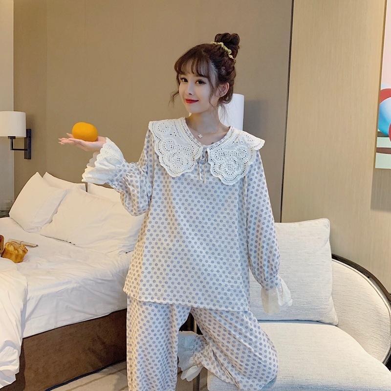 YtPSe sexy Outono doce das mulheres novo estilo princesa algodão tecido Pcp5g rendas grandes lapela manga laço longo terno pijama pijamas