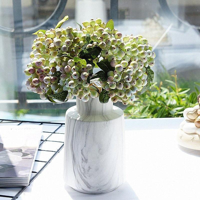 Artificial branco buquê de flores baga para o casamento casa decoração noiva mão flores segurando yZX3 #