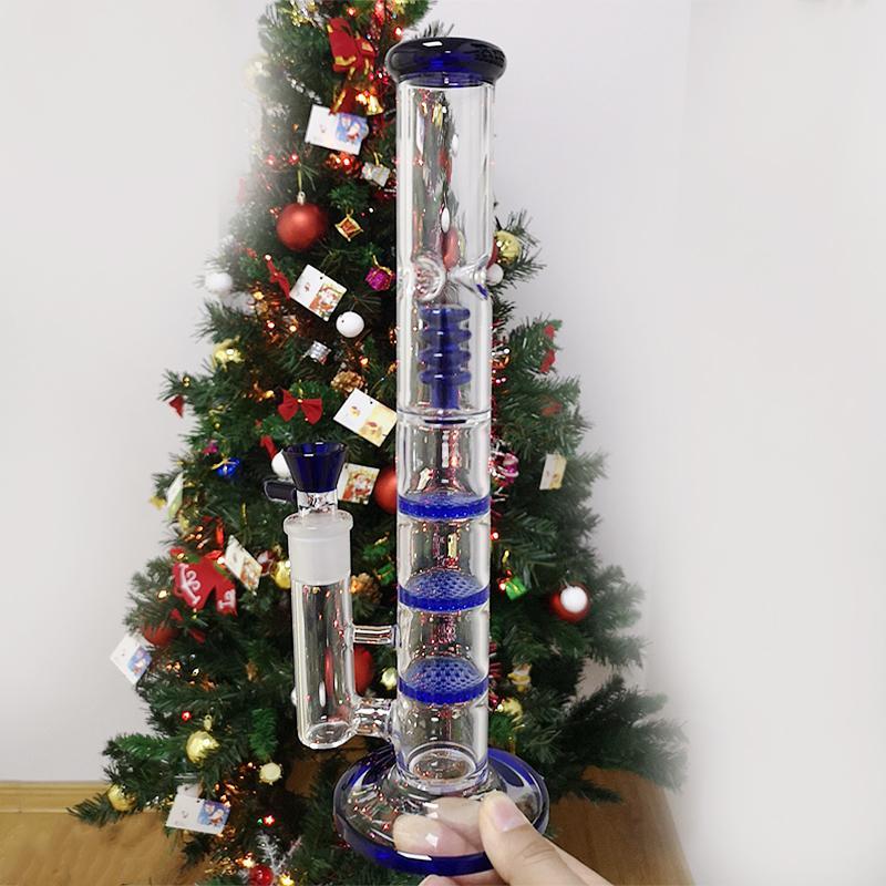 Claro azul verde narguillahs pente triplo pérolinho árvore copo de vidro beak tubulações de óleo de bong 18.8mm tubos de água articulação feminina com tigela hr316