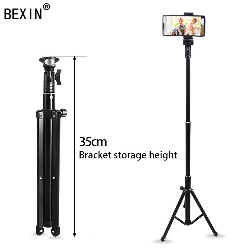 BEXIN Portable téléphone portable en direct Support Trépied support Bluetooth Fill Light Triple-acculé pour la diffusion en direct