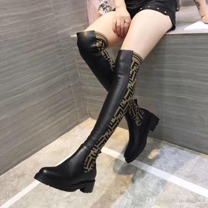 High quality Fashion luxury women shoes over the knee boots 2020 new superstars womens thigh high Socks boots of Free shipping