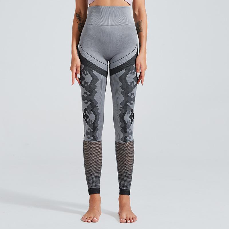 Pantaloni da yoga europei e americani dell'highteamless yoga femmina hip sexy camouflage cavo fitness pantaloni in esecuzione sport fitness collant pcfuw