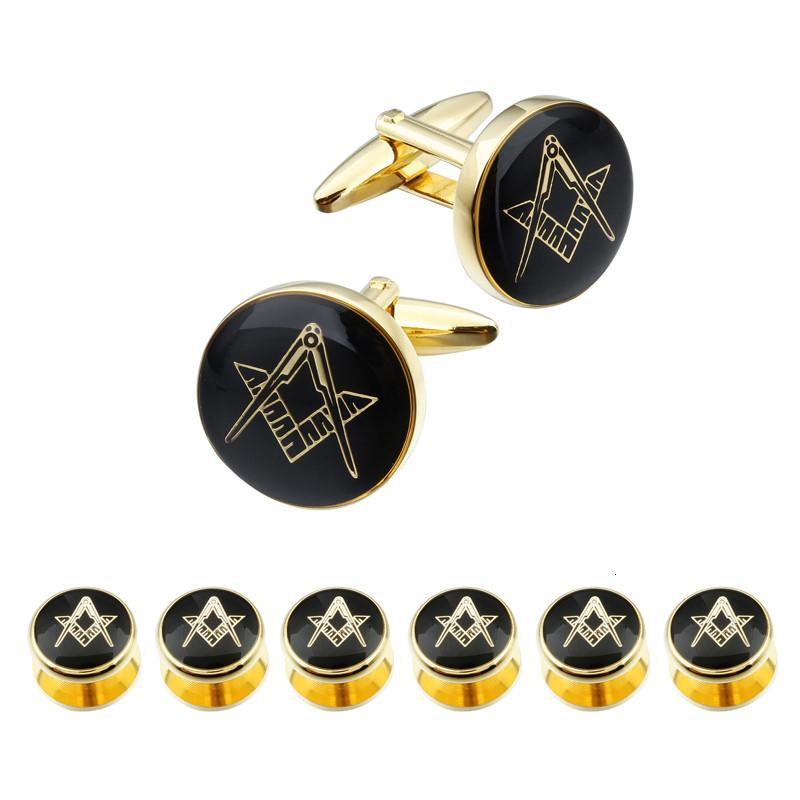 Hawson Moda massone Gemelli e oro Studs Set di alta qualità e d'argento di collegamenti di polsino inciso 4 o 6 pezzi Studs Set Opzioni SH190925