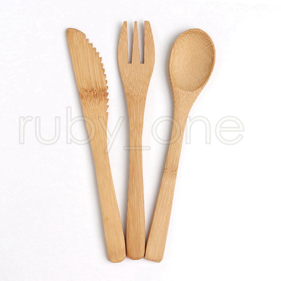 Бамбук Посуда множество 16см натурального бамбука Столовые приборы Посуда столовая нож Вилка Ложка Открытый кемпинга Посуда Набор кухонных принадлежностей 3шт / набор RRA3528