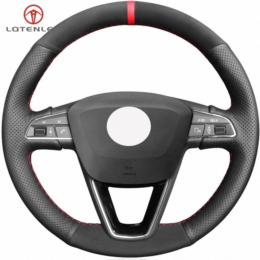 LQTENLEO черный натуральная кожа замша рулевое колесо Обложка для Seat Leon 5F 3 2013 2019 Ibiza 6J Арона Ateca Alhambra 2016 2019 Гонки xMqe #