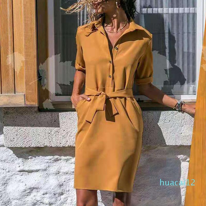 Горячие продажи отложной воротник Половина рукава шнуровка рубашка платье Повседневный Сплошные Карманы Гольфы платья дамы моды платье лета Vestidos