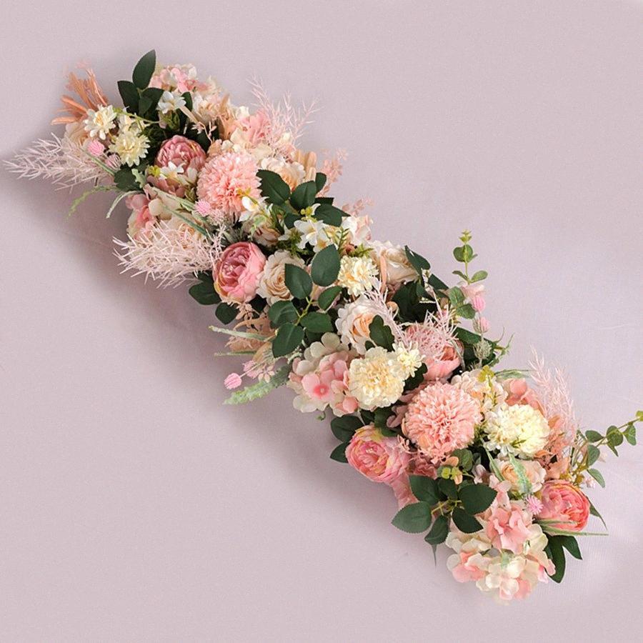 95cm NEW Hochzeit Blumen-Wand-Hintergrund Dekoration T Station Road Blei Künstliche Blumen für Arch Row Fenster Tür Garland Dekor J3Zl #