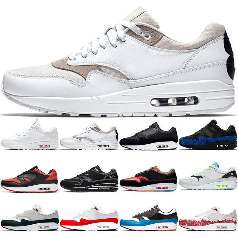 Nike Air Max 1 Nuevas mujeres de los zapatos para hombre Formadores de la escritura de la margarita 87 Paquete de deportes para hombre zapatillas de deporte Tamaño 36-45 Running