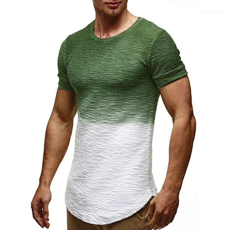 Bresthable Tees Mens-Sommer-Designer Colorblock Homme T-Shirt mit Rundhalsausschnitt Schlank Kurzarm Herren Kleidung Lässige