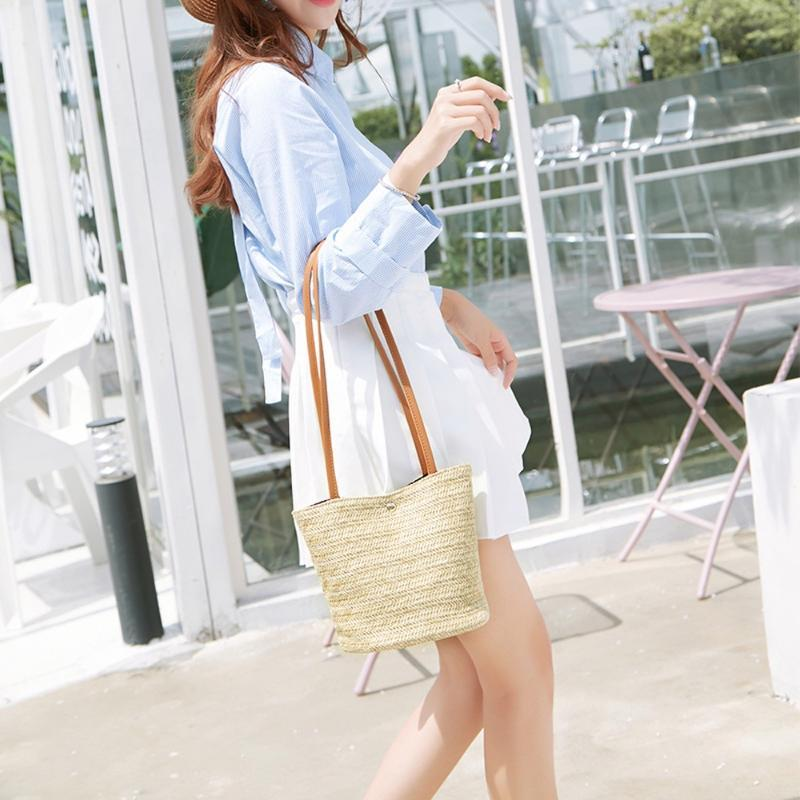 2020 new summer brand Fashion designer Women Casual Shoulder Bag Straw Bags Woven Bucket Bag Handbag Crossbody Anti-theft Shopping Beach