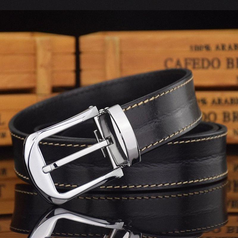 Qualitäts-Dornschließe Modedesigner Bund-Gurt-Mann-klassisches beiläufig Top Cow echtes Leder dunkelbrauner Cowskin Ceinture zZrN #