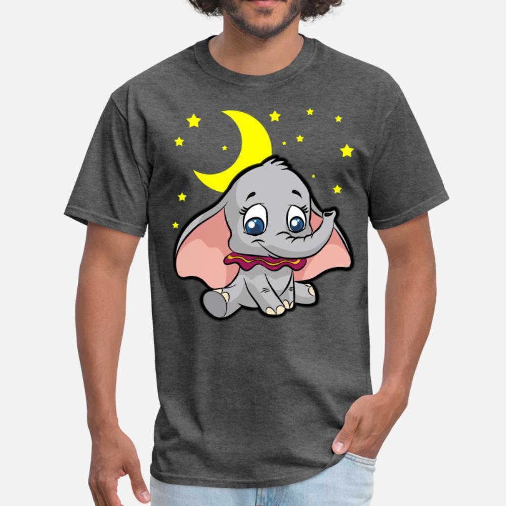 Lindo pequeño elefante hombres de la camiseta de manga corta Imprimir cuello redondo familia Antiarrugas informal camisa de primavera Único