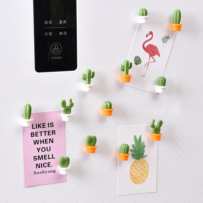 6шт / комплект Cactus Магнит на холодильник Симпатичной мини Суккулента Магнит Магнит на холодильник Сообщение Изображения хозтовары W-00130