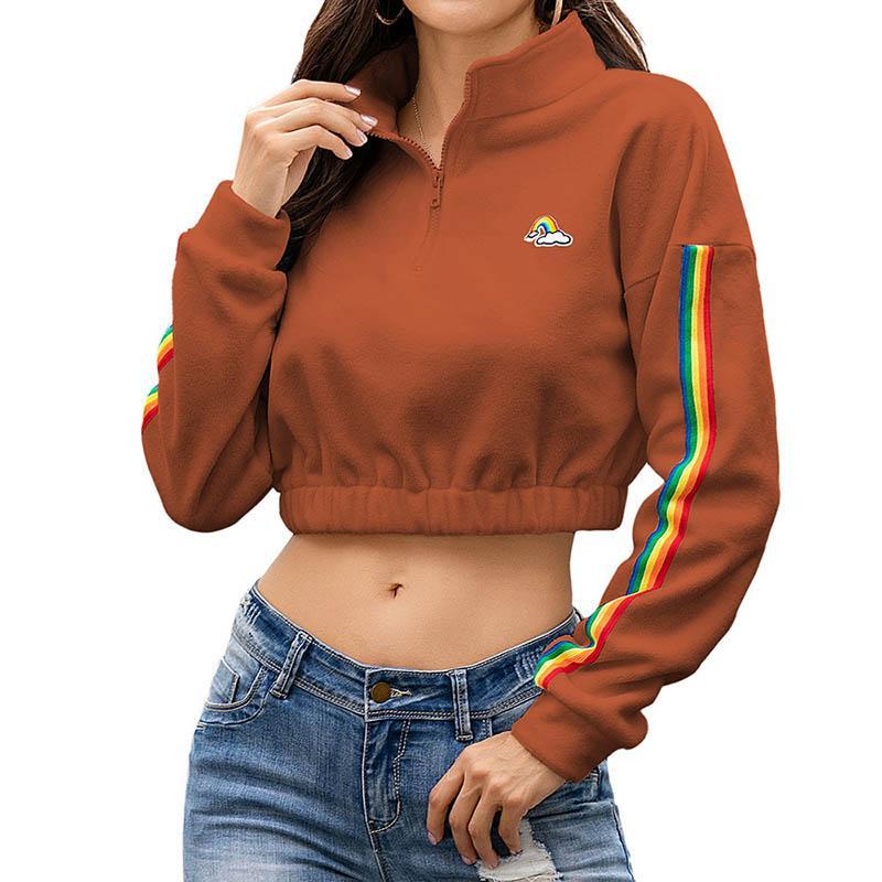 Women Crop Hoodies Autumn Long Sleeve Tops Ladies Zipper Sweatshirts Sexy Plush Hoodies Female Stand Collar Sweatshirt 050811