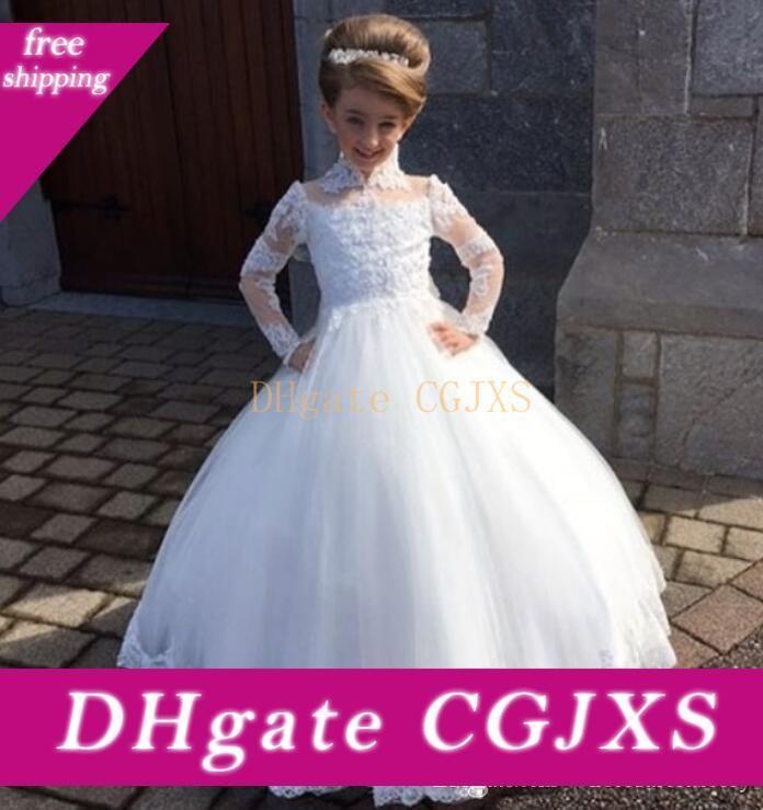Şık Dantel Çiçek Kız Elbise Uzun Kollu Yüksek Boyun Tül Aplike Prenses Balo Doğum Kız Yarışması Elbise