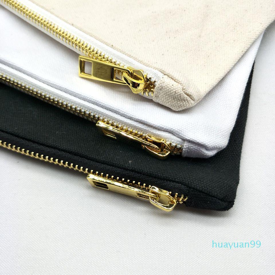 Nueva-7x10in bolsa de maquillaje lienzo en blanco a juego con el color de revestimiento de oro postal negro / / marfil bolsa de cosméticos de tocador bolsa stock disponible blanco