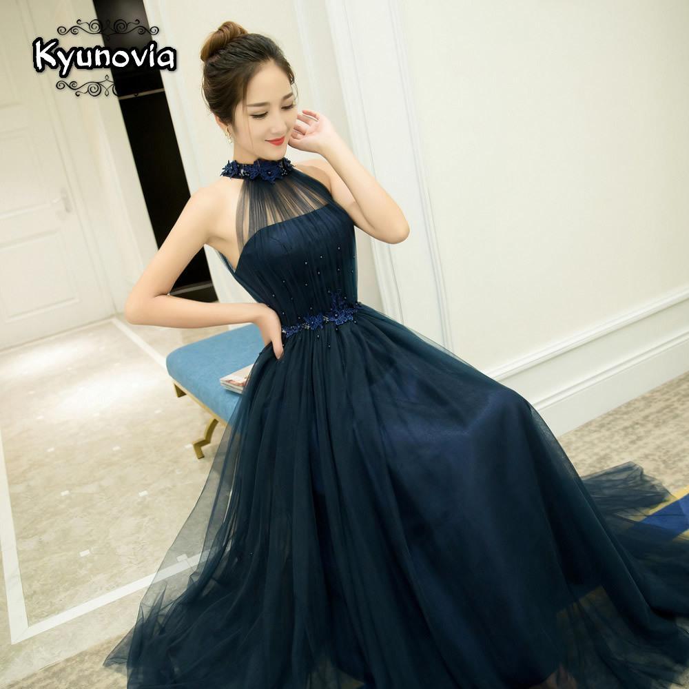 Longueur étage Halter robe perlée longue robe de bal bleu Champagne manches robe de soirée lacent Appliques Robes de bal FD28 Y200710