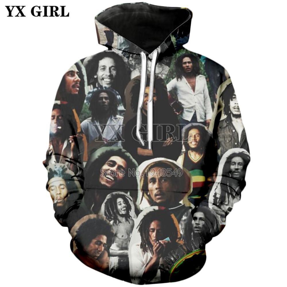 PLstar Cosmos HipHop Reggae Bob Marley Survêtement Streetwear unisexe Nouveau mode Pull IMPRESS3D manches longues Sweat / Veste A-4 MX200813