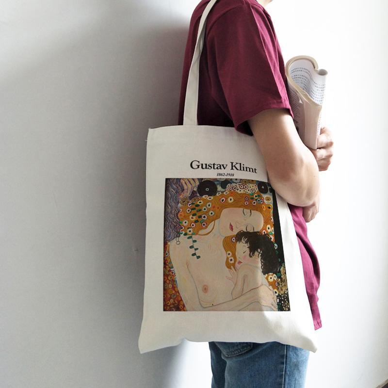 Arte nuova estate femminile casuale Harajuku ins ad alta capacità su tela divertimento stampa Fashion College borse a tracolla Vintage Zipper