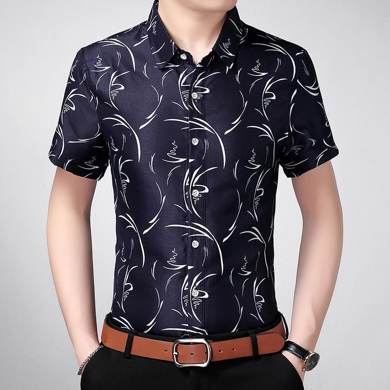 2020 nueva llegada camisa del negocio del verano hombres de la marca de manga corta de la curva-abajo al collar camisa del smoking camisas de los hombres del tamaño grande M-7XL