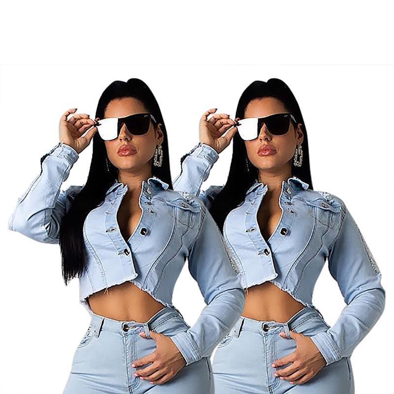 Women plus size Jackets denim backless crop top sheath column jacket button fly coat cardigan lapel neck running fashion hot selling 0012