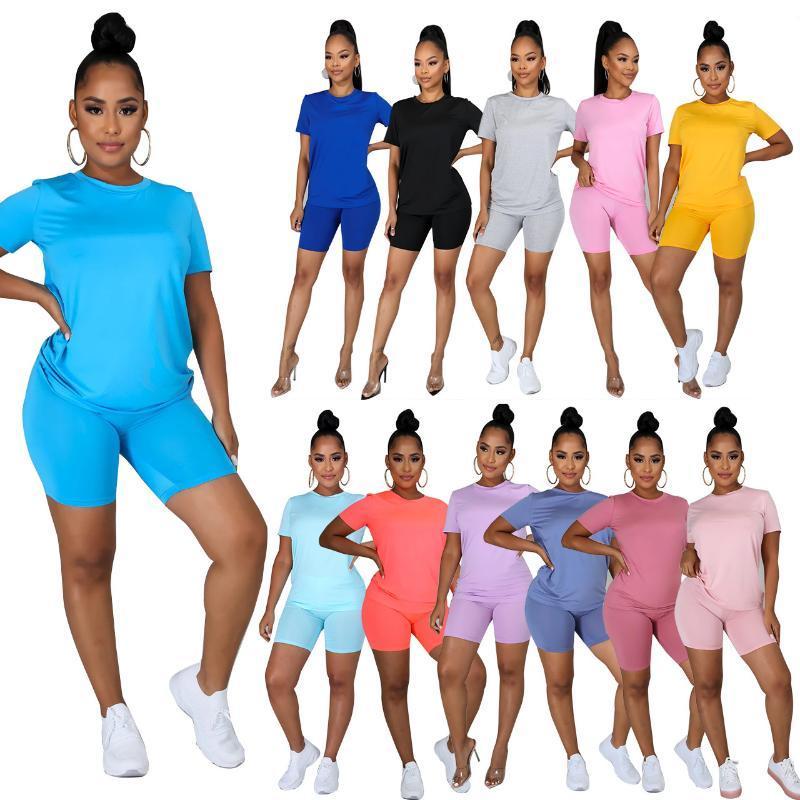 Solide europäische und amerikanische Large Size-Kleid-beiläufige Start Farbe runden Halsausschnitt T-Shirt mit Shorts Zwei-teiliges Set S-5XL 2-teiliges Set