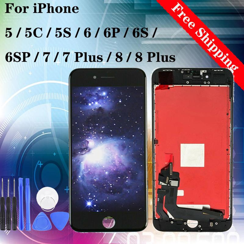 LCD Display For iPhone 5/5C/5S/6/6P/6S/6SP/7/7P/8/8P Touch Screen Replacement Black White display with gifts