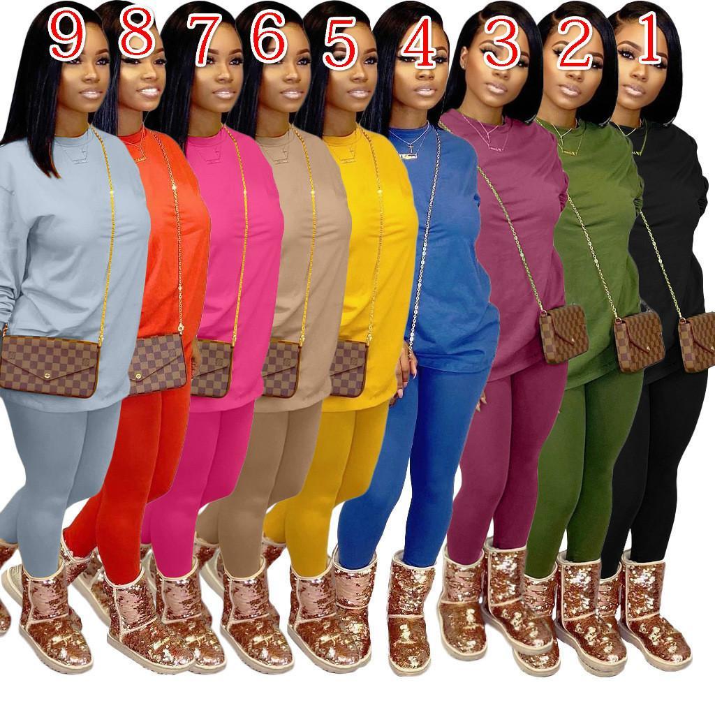 Le nuove donne del progettista tuta 2 pezzi Pantaloni Set a manica lunga Sport Tempo libero Moda Outfits Top Pantaloni tuta da jogging Abbigliamento taglie