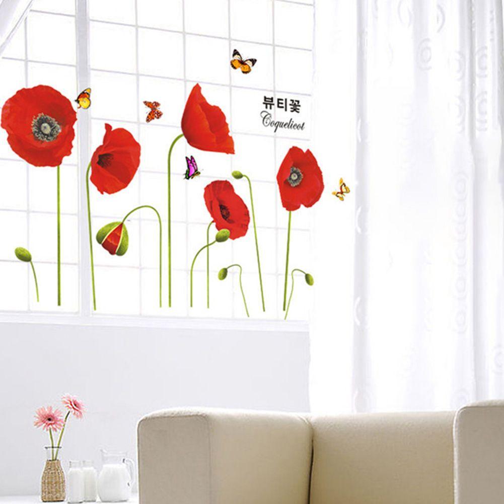 Red Poppy Flowers Butterflies Wall Stickers Art Decalque Mural Home Decor