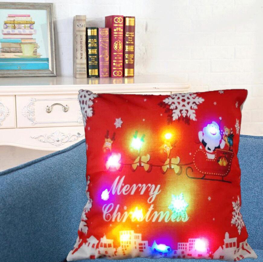 LED LuminousChristmas غطاء وسادة المخدة أريكة وسادة وسادة مقعد سيارة حالات ديكور المنزل غطاء وسادة عيد الميلاد الديكور 45 45CM *