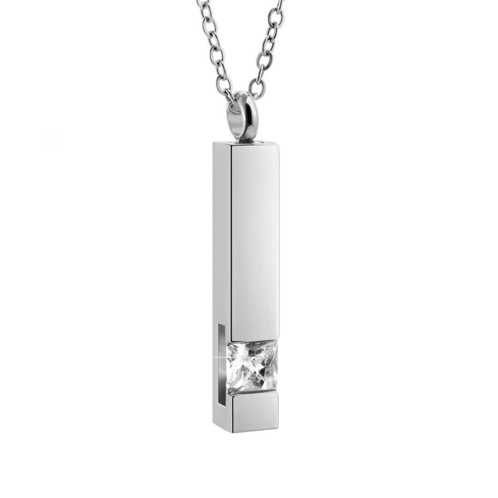 Gioielli Cubic 316L collana dell'acciaio inossidabile CZ pietra Memorial Ash supporto del pendente della collana di cremazione urna con la catena a maglia
