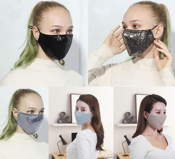 seta del ghiaccio di paillettes Bling di modo 3D lavabile riutilizzabile Maschera PM2.5 Viso Shield Sun Colore Oro Elbow lucido coprire il volto maschere bocca fy9048