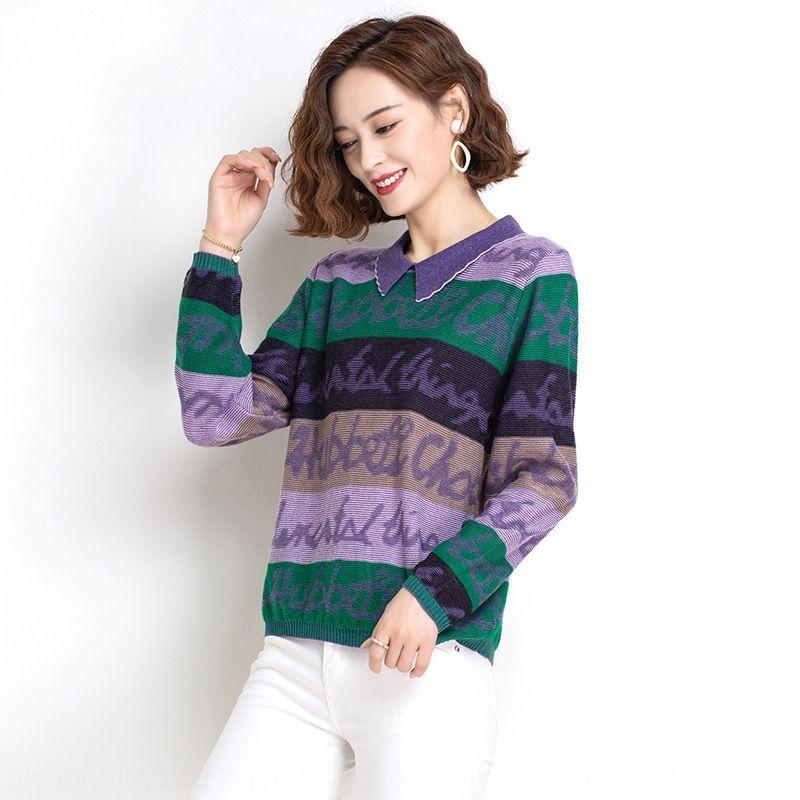 autunno delle donne superiori stampati 2020 Nuova sciolto lavorato a maglia maglione della parte superiore sottile maglia autunno camicia di base e dimagrimento inverno maglione lHGxf