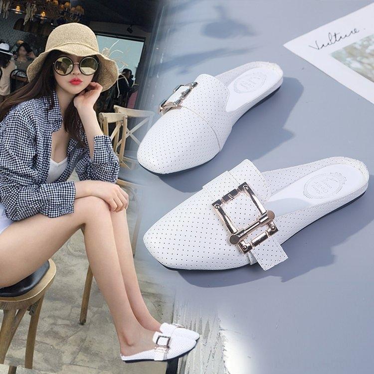 Большого размер 2020 новый мешок головы половины лета женщины плоское дно без скольжения верхней одежды Корейских тапочек стиля женских тапочек без каблука