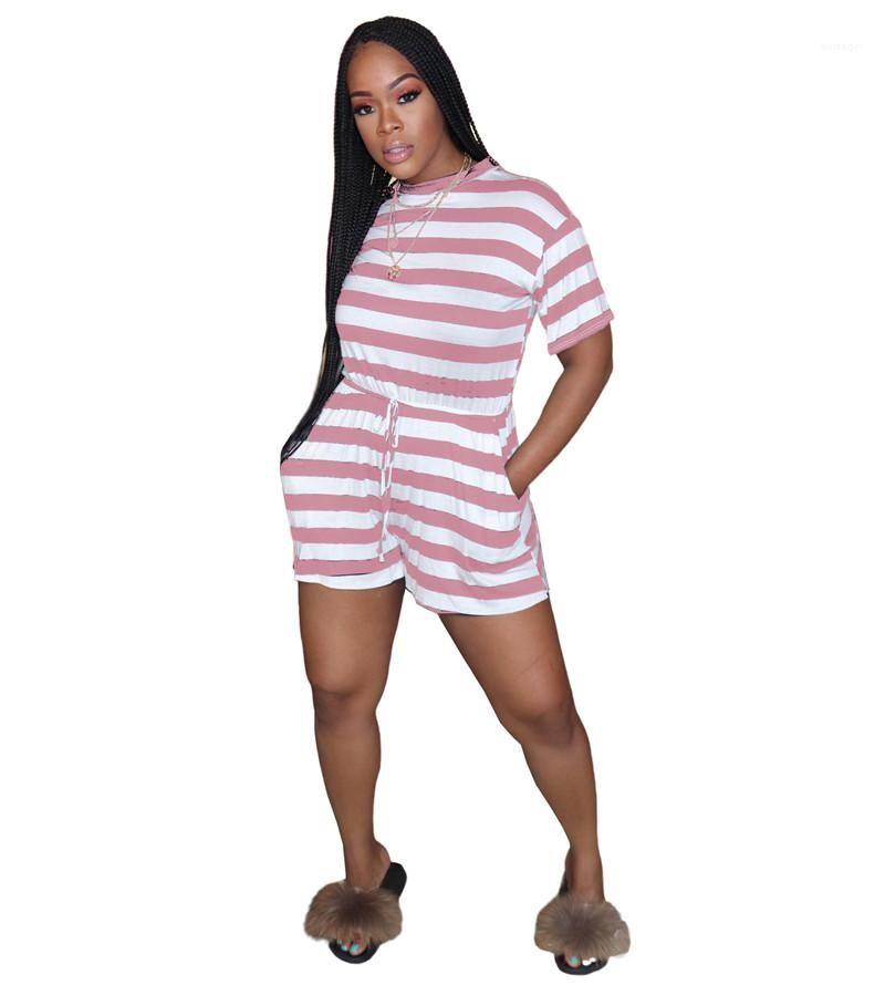 Giyim Mürettebat Boyun Kısa Pantolon Gündelik Giyim Kadın Tasarımcı Tek Parça Cep Tulumlar Yaz Kısa Kollu Çizgili Kadın yazdır