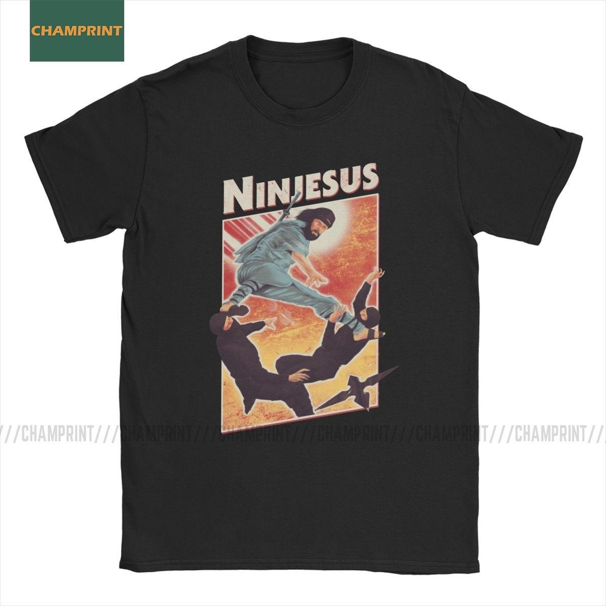 T-shirt la camicia Gesù Ninja Cotton Vintage Tee manica corta Parodia Dio Santo magliette girocollo Abbigliamento Plus Size