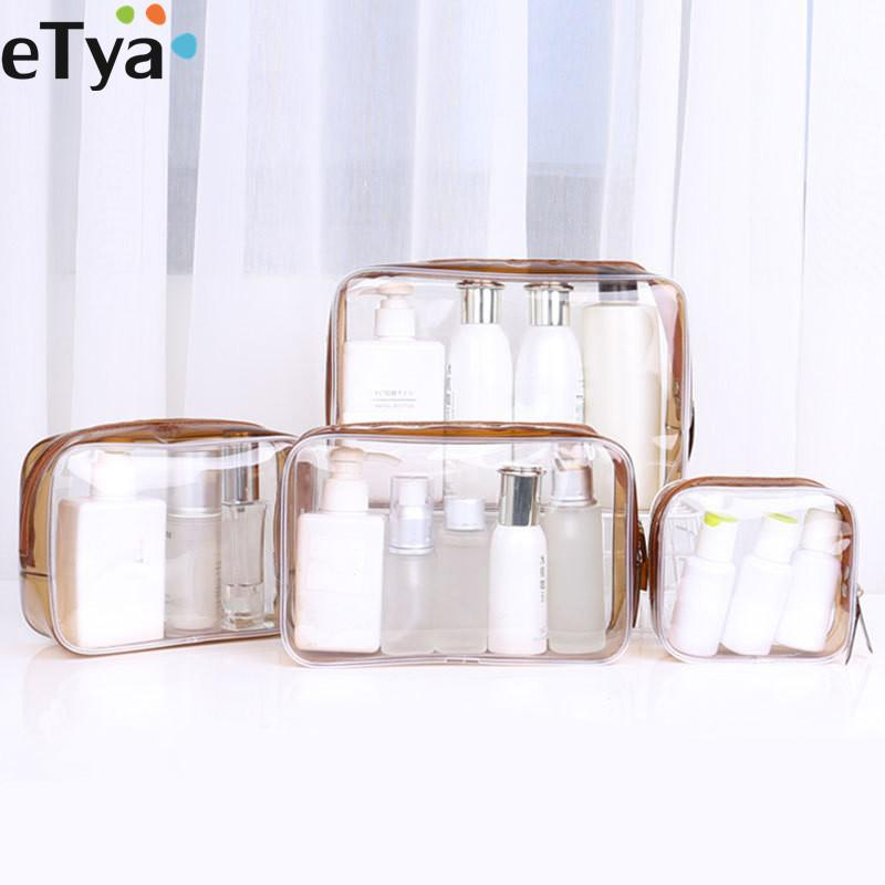 eTya 1PCS Women PVC Clear Cosmetic Bag Transparent Make Up Bag Professional Travel Small Large Make Up Organizer Pouch Case