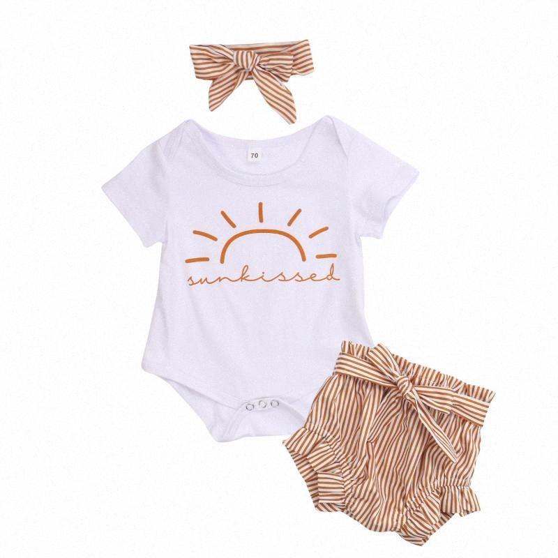 CitgeeSummer 0-24M Newborn neonate creativa Sun manica corta pagliaccetto + dolce a strisce Shorts + Bow Headwear Outfit Set Azoz #