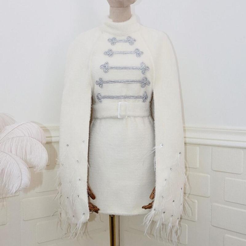 2020 automne hiver nouveau manteau de plumes d'autruche de manteau de laine percez mélanges de laine col blanc manteau